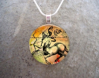 Sagittarius Jewelry - Glass Pendant Necklace - Victorian Horoscope - RETIRING 2017