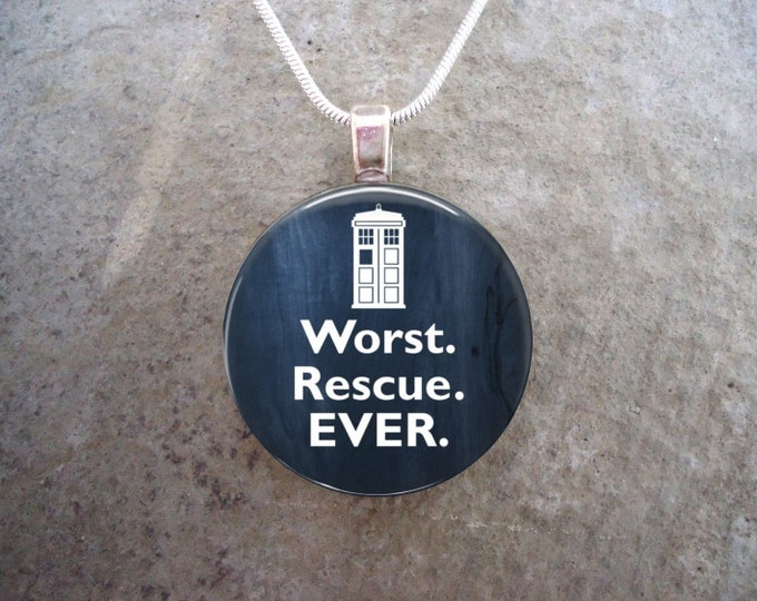 Doctor Who Jewelry - Glass Pendant Necklace - Worst Rescue Ever