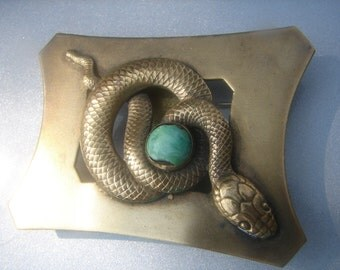 1920's Brass Snake Brooch with Green Bead 410.