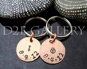 HUGE SALE D2E personalized engraved hand stamped his and hers lucky penny anniversary key chains
