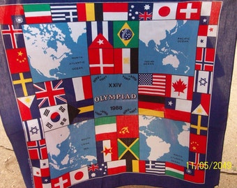 2  different XXIV Olympiad 1988 scarfs (new) approximately 21 inches square - 50 percent cotton, 50 percent polyester, Made in USA