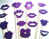 15 Glitter Cardstock Lip Props Photo Booth Props Photobooth prop - On a Stick - Mustache Moustache Party