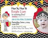 Knight Birthday Invitation Knight Party Knight Invitations Printable Birthday Invitation Knight Birthday Invites Chevron Photo with Props
