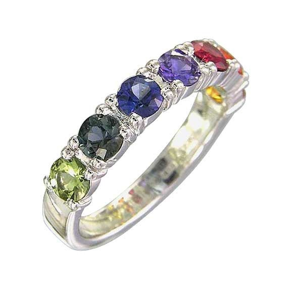 Multicolor Rainbow Sapphire Engagement Ring 14K White Gold