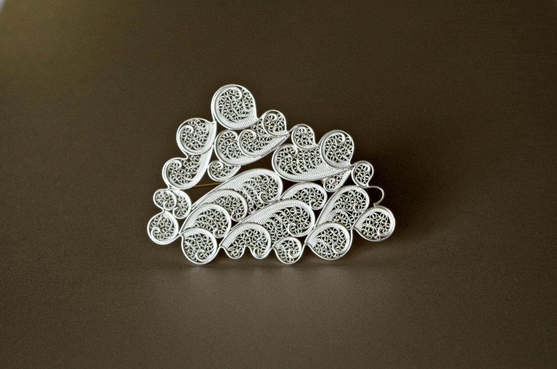 Contemporary Sterling Silver Brooch. Filigree Cloud Pin.