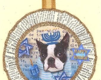 Boston Terrier | HANUKKAH | Hanakkuh | CHANNUKAH | Jewish Dog Ornament | Vintage style