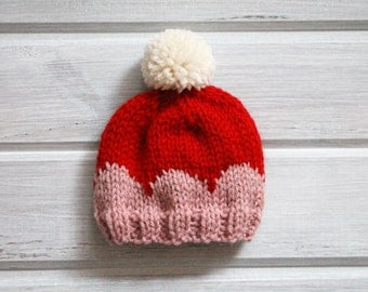 Newborn Knit Scallop Hat-Ready to Ship