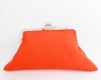 Bright Orange Big Kiss Clutch