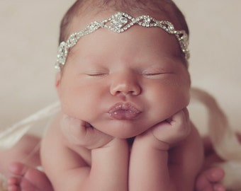 "Flash SALE The ""Princess Jewels"" Gorgeous Crystal Stone Headband Head Piece Newborn Photo Prop Photoshoots Newborn Headband"