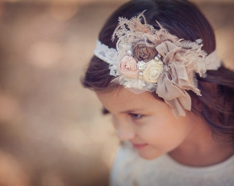 Tans, blush peach and chocolate brown SIlk Rolled Rosette Headband, Feathers,  silk rosettes Pearls