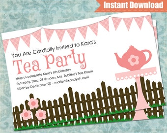 Tea Party Invitation - Tea Party Printable - Instant Download