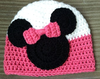 Crochet Mickey or Minnie Mouse Inspired Hat