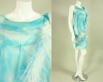 1960s FEATHERED COCKTAIL DRESS Vintage Light Blue & White Abstract Print Marabou Feathers Ostrich Bow Party
