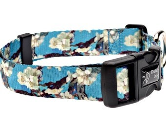 Van Gogh Almond Blossom Fashion Dog Collar - Made From Recycled Webbing