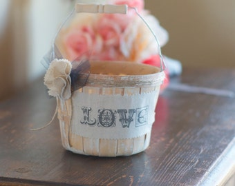 Love Flower Girl Basket by Burlap and Linen Co