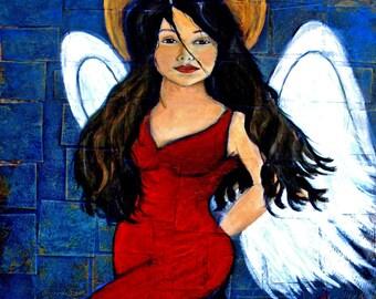 Angel 8 x 10 Original Art Print, Spanish Dancer, Flamenco Dancer, Angel Print, Red, Home Decor,
