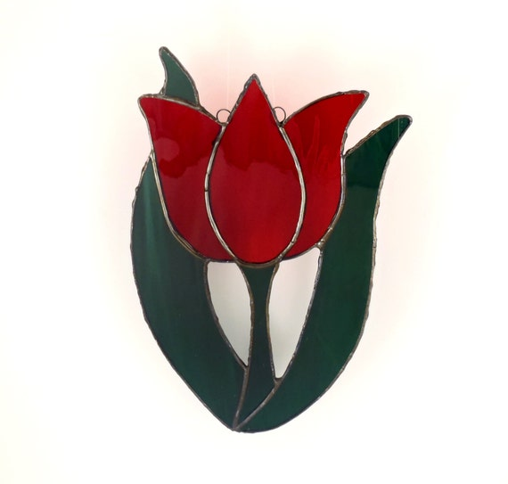 Red Stained Glass Tulip, Spring Flower Suncatcher, Window Ornament, Hanging Flower Decoration, Garden Art, Gardener Gift, Stain Glass