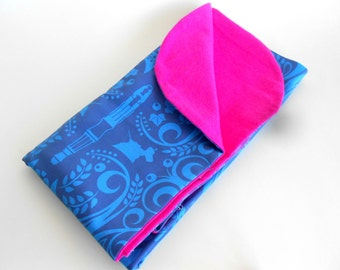 Sonic Blues and Who Elegant Doctor Inspired Baby Blanket - Blue, Pink