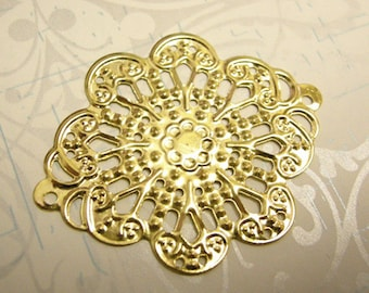 12pc 38x30mm gold finish filigree wraps-324