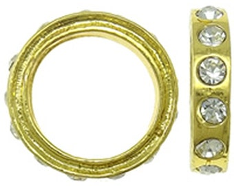 10pc 18mm gold finish ring with rhinestones-9286