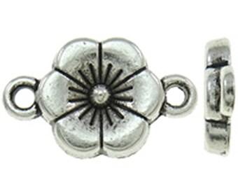 20pc 17x10mm antique silver finish flower shape connectors-9500