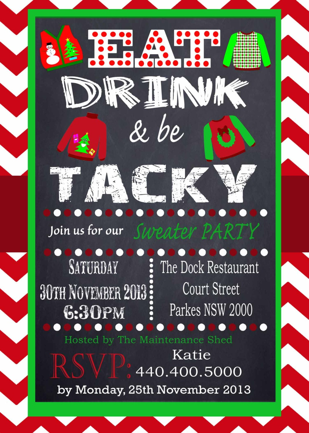 holiday open house tacky sweater party invitation chevron red chalkboard uly sweater offfice party printable personalized christmas invitation