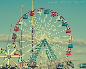 Nursery Wall Art, Ferris Wheel Photo, Seaside Boardwalk Funtown Pier Vintage Style Photo, Seaside Ferris Wheel, Dinosaur Art Childrens Decor