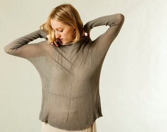 Transparent Gray shirt ,knitted round neck top ,long sleeve blouse