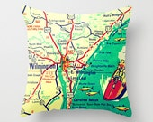 North Carolina Map Pillow WILMINGTON NC, Map Pillow, Wrightsville Beach House Gift, Decorative Pillow Cover, Gift for Him. Retro Map Pillow