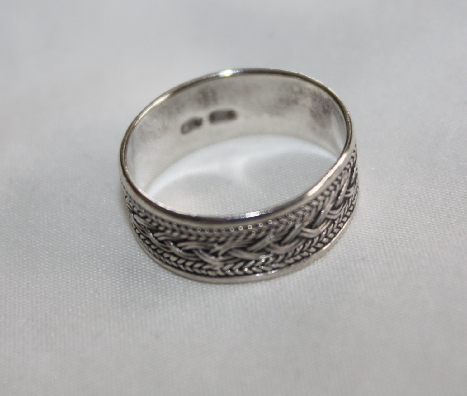 Basket Weaving Jewelry : Sterling ring basket weave band s jewelry wedding by