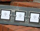 Picture Frame - Distressed Wood - Holds 3 - 3x3 Photos - Gray & Black