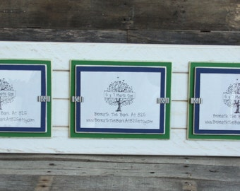 Picture Frame - Triple 5x7 - Distressed Wood - Holds 3 - 5x7 Photos - White, Kelly Green and Navy