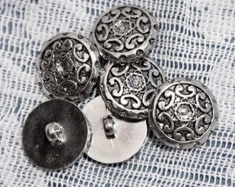 """15 Vintage  11/16"""" Pretty Silver Tone Plastic Shank Buttons. Abstract Floral Design. Decorative Rim. High Quality.  Item 1387P"""