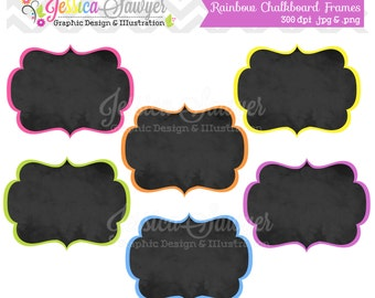 INSTANT DOWNLOAD, rainbow chalkboard frame clipart for commercial or personal use