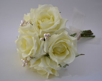 Bridesmaid Bouquet - Small Bridesmaid Bouquet with Pearl Accents, White Roses, Cream Roses, All White Bridesmaid Bouquet
