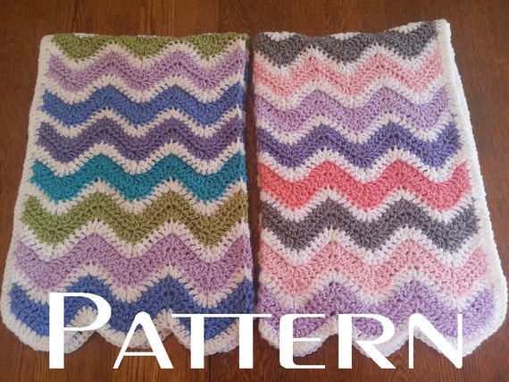 crochet pattern wavy ripple baby blanket afghan boy girl