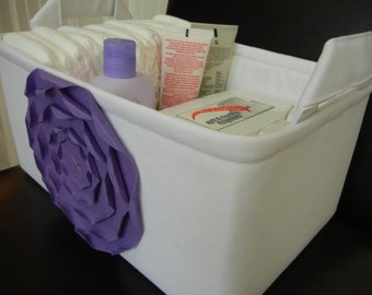 "LG Diaper Caddy(No Divider)-Toy Bin 12""x8""x6""(choose COLORS)- Baby Gift-Fabric Storage Organizer -""Lavender Rose on White"""