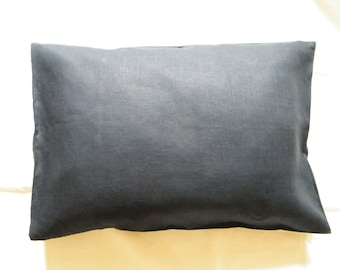 2 Natural Pure Linen  Pillowcases - Covers - Shams - Queen Size - Midnight Blue - Dark Navy Blue - Saphire - Pure Flax  - Bed Linens.
