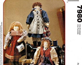"The Sewing Sisters Cloth Dolls With Clothes by Michelle Hains McCall's Crafts 7980 18"" tall"