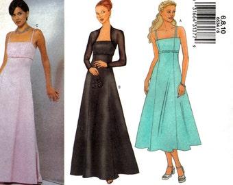 Misses, Misses Petite Maxi Dress or Tea Length Spaghetti Strap Dress and Shrug Bolero Butterick 6534 Size 6 8 10