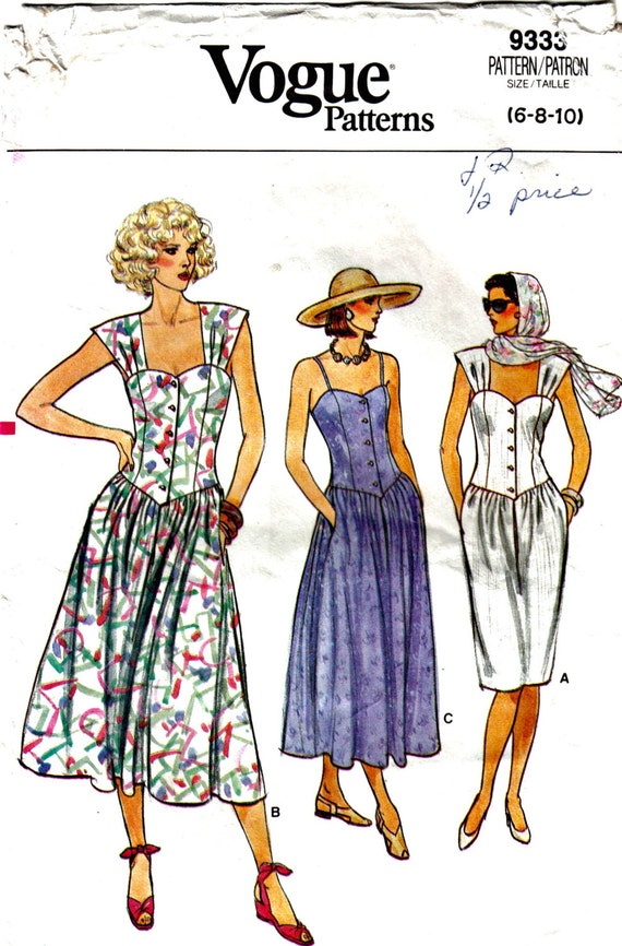 Misses Fit and Flare or A-Line Sundress Sewing Pattern Vintage Vogue 9333 Size 6 8 10