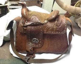 Western leather saddle shoulder bag