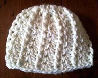 Hat Crochet White 3 -6 month