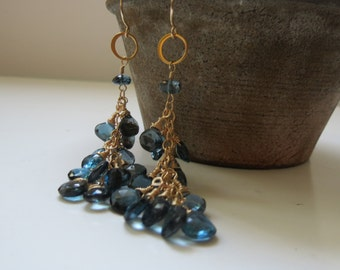 Faceted London Blue Topaz Heart Shaped Dangle Gold Filled Earring Clusters ~ OOAK!