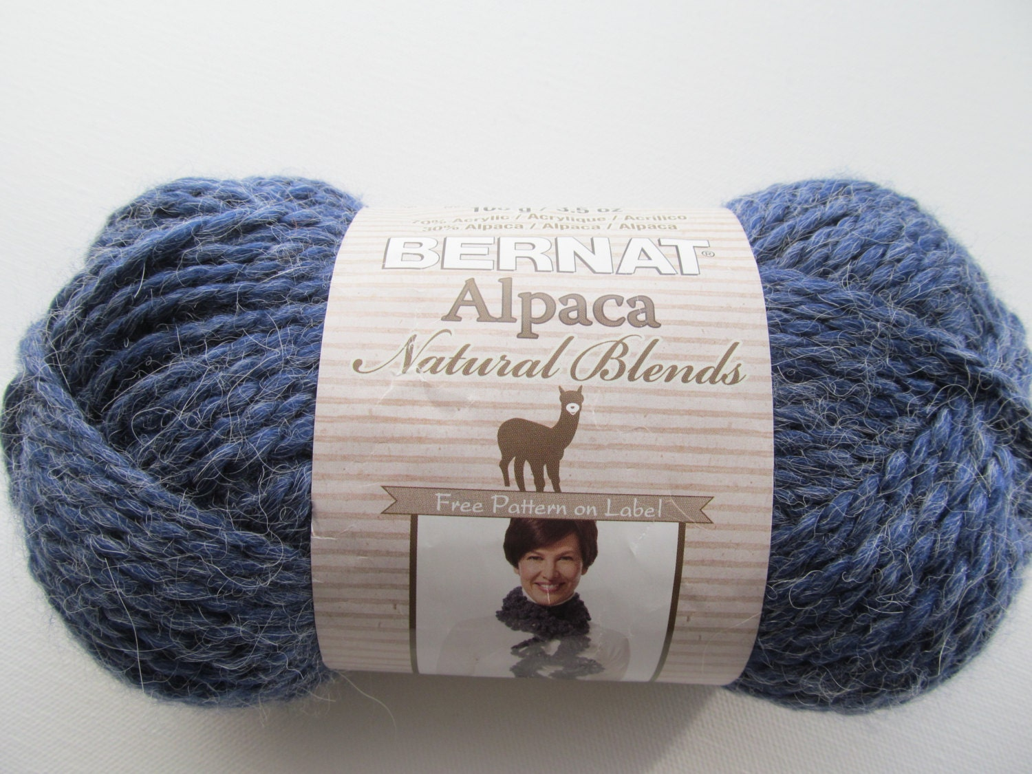 Alpaca Yarn Knitting Patterns Free : Bernat Alpaca Chunky Knitting Yarn Natural Indigo Blue Heather