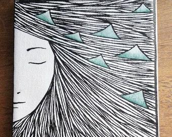 OOAK Original artwork on canvas girl 10 x 10 cm ink illustration black green
