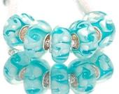 Aquamarine and White Swirl Pattern Glass Lampwork Charm Bracelet Bead -.925 Silver Core