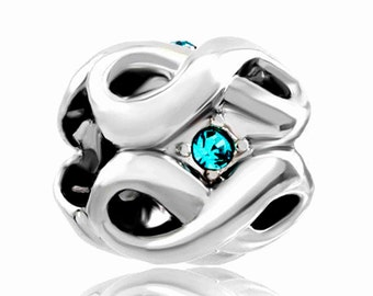 Aquamarine   Spacer Bead  For European Style Charm Bracelet - Silver Plated