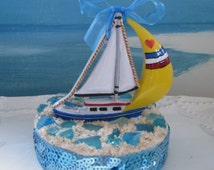 Sailboat Wedding Cake Topper~Beach Glass Cake Topper