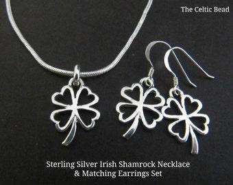 Sterling Silver Small Irish Open Shamrock Necklace & Matching Earrings Set